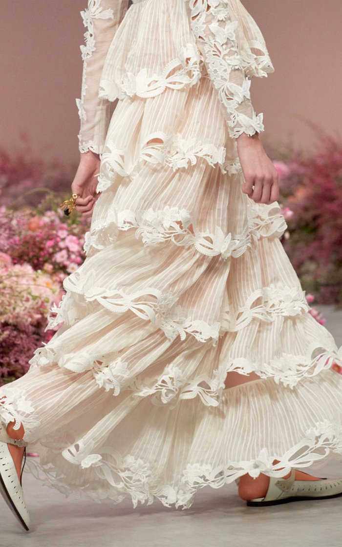 Luminous Tiered Guipure Lace Gown