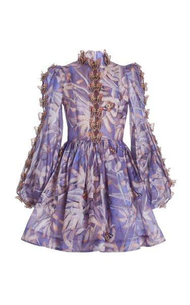 Botanica Butterfly-Detailed Linen-Silk Mini Dress