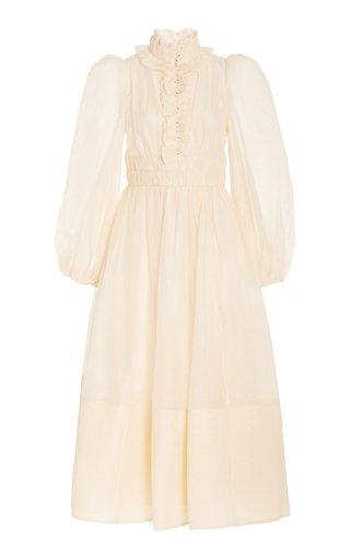 Botanica Ruffled Linen-Silk Maxi Dress