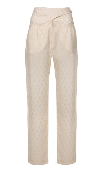 Whisper Basque Silk Straight-Leg Pants