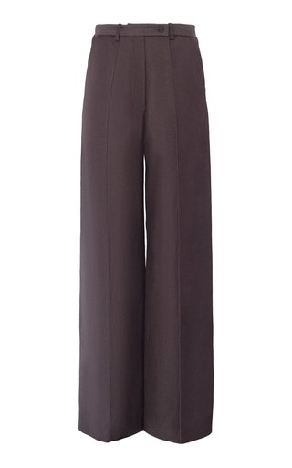 Inverse Satin-Linen Wide-Leg Pant
