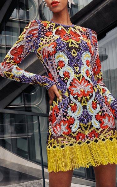 Beaded Dress With Fringe Hem