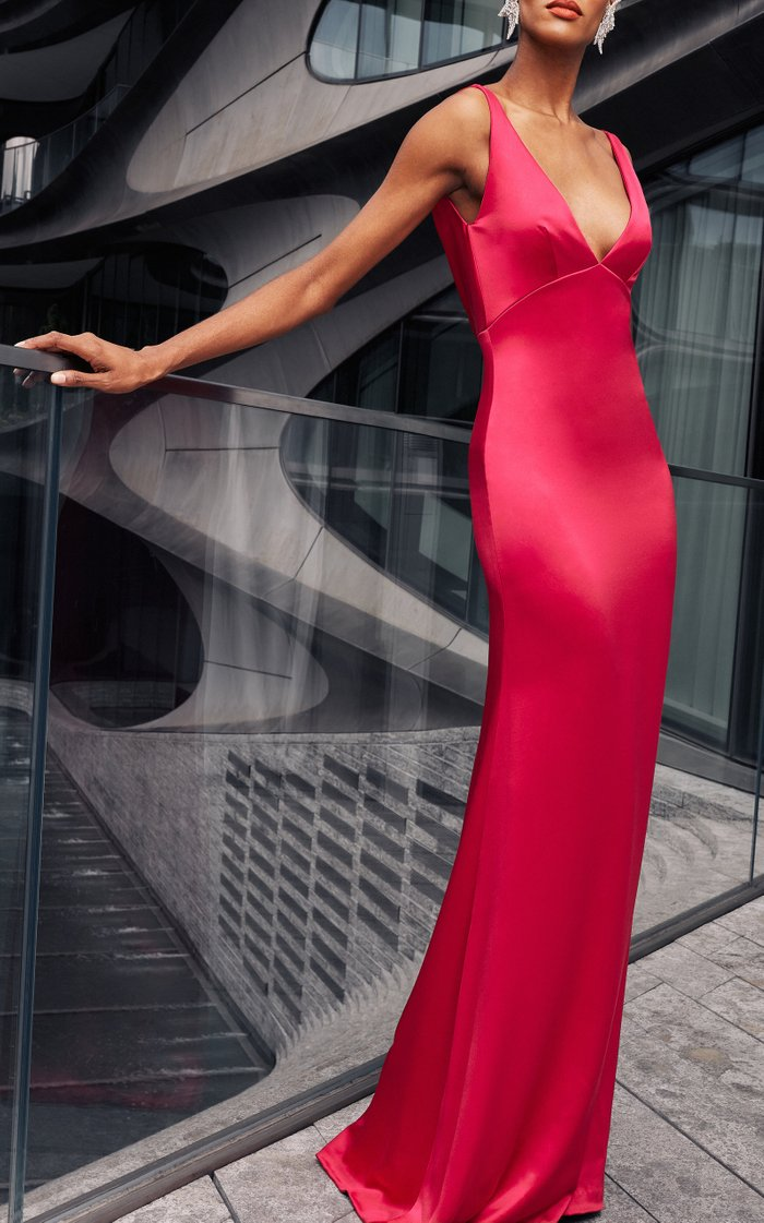 Satin Gown With Cowl Back