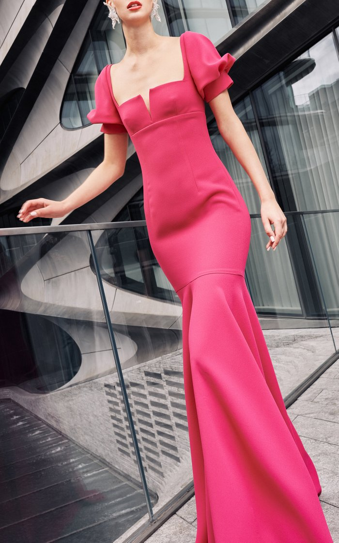 Crepe Gown With Puff Sleeves