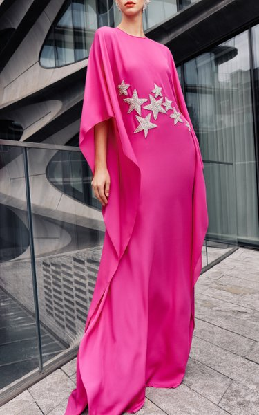 Fitted Caftan Gown With Stars