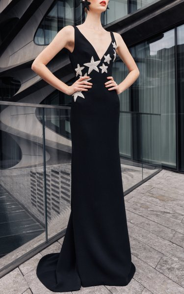 Crepe Gown With Cowl Back And Star Emrboidery