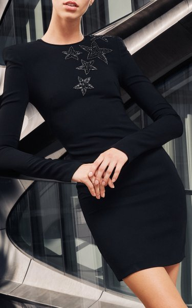 Crepe Cocktail Dress With Star Embroidery