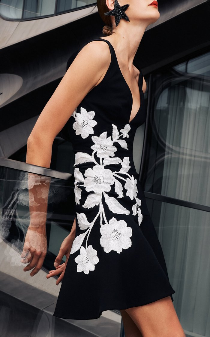 Flouncy Crepe Dress With Floral Applique
