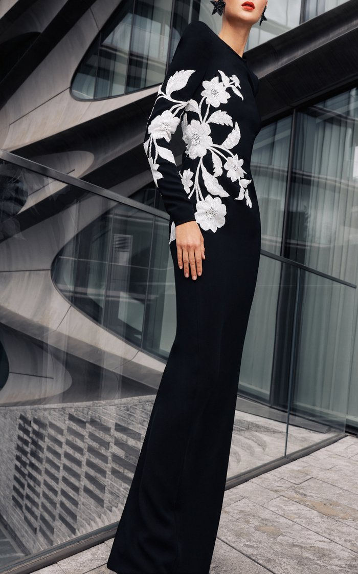 Long Sleeve Crepe Gown With Floral Applique