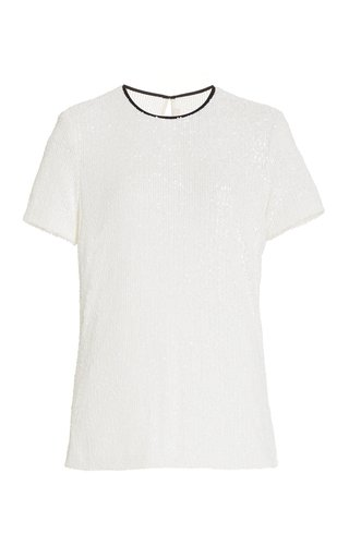 Sequined Piped Tulle T-Shirt
