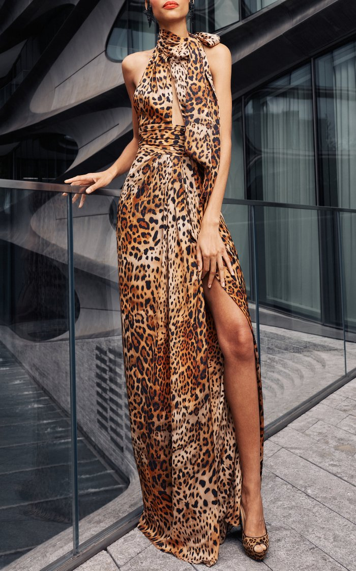 Leopard Print Halter Gown With Slit