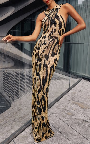 Leopard Embroidered Halter Gown
