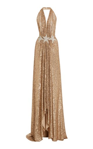 Draped Sequined Tulle Gown