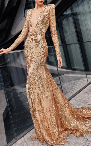 Sequin Embroidered Gown With Fitted Skirt