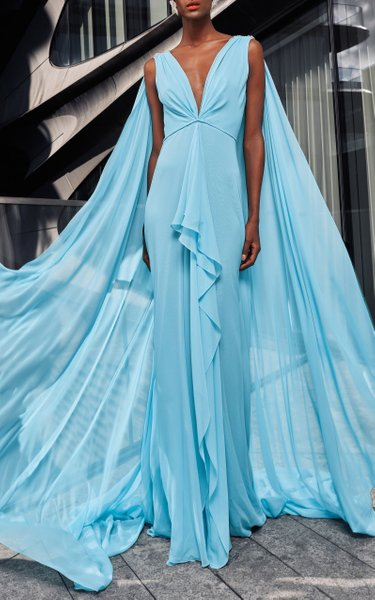 Chiffon Gown With Cape And Star Appliques