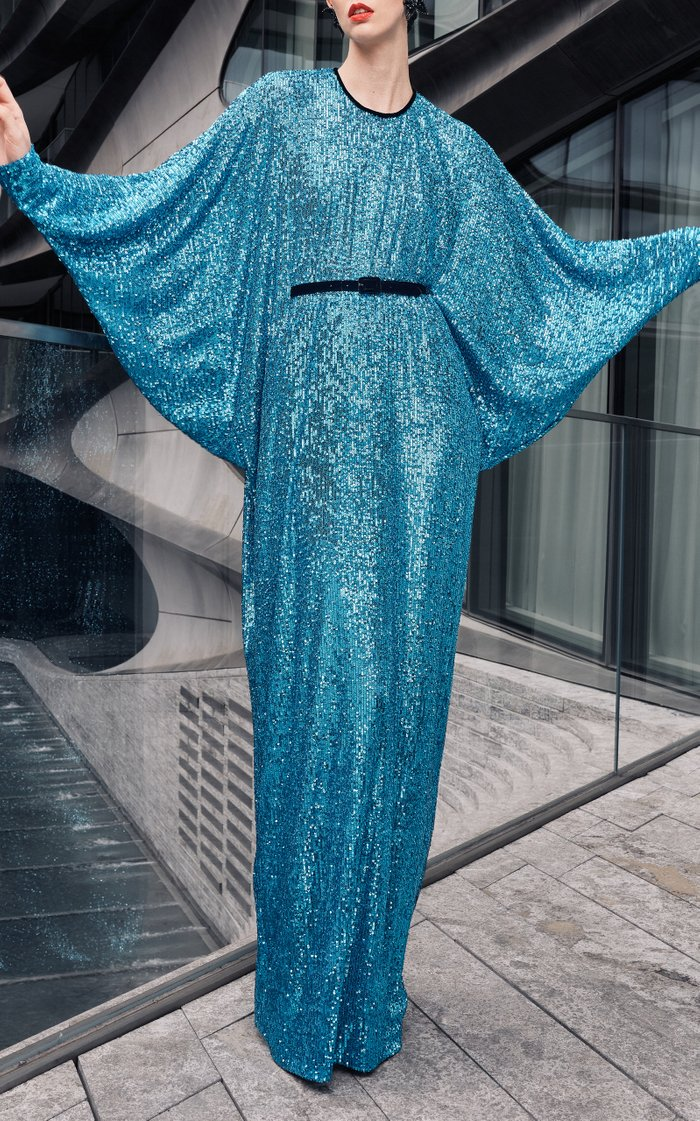 Sequin Gown With Belt