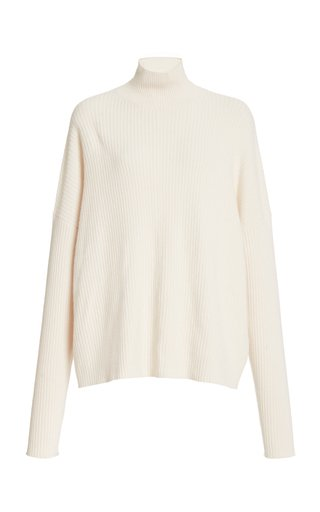 Boxy Ribbed Turtleneck Sweater