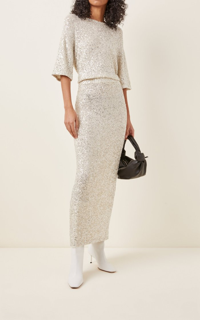 Sequined Cashmere-Silk Midi Skirt