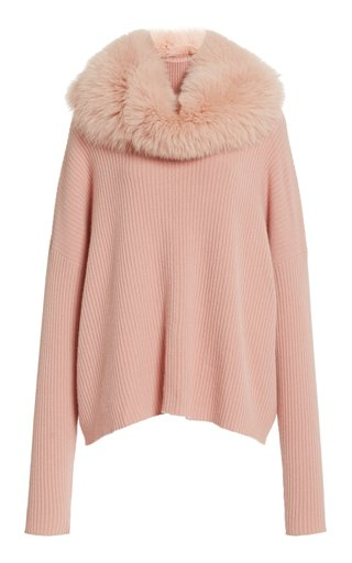 Fur-Snood Cashmere Turtleneck Sweater
