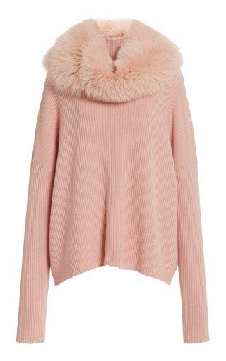 Fur-Snood Cashmere Turtleneck Sweater