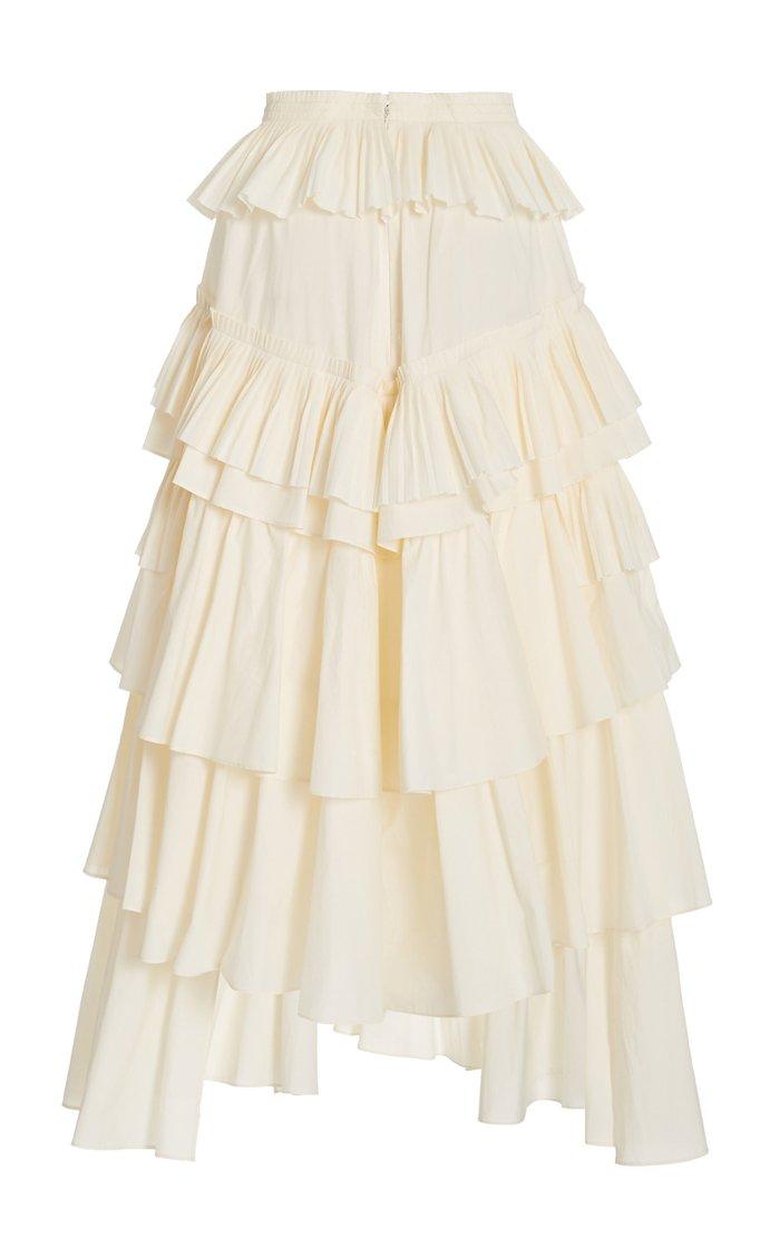 Gaelle Tiered Cotton Skirt