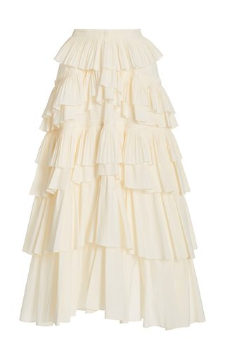 Gaelle Tiered Cotton Skirt