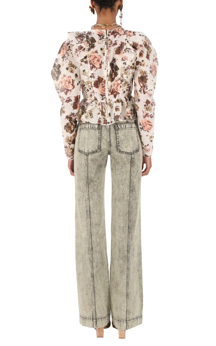 Albie Acid-Wash High-Rise Straight-Leg Jeans