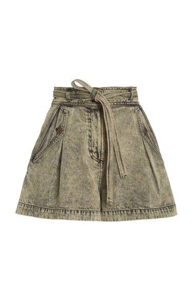 Alec Belted Acid-Wash Denim Shorts