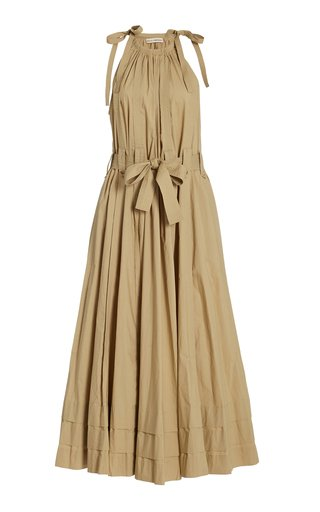 Joni Pleated Tie-Accented Cotton Midi Dress