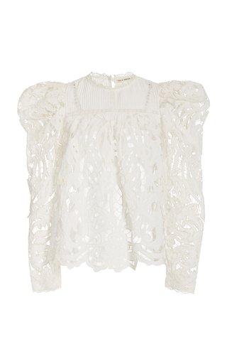 Ava Cotton-Linen Lace Blouse