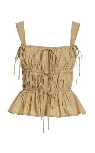Lulu Ruched Peplum Cotton Top