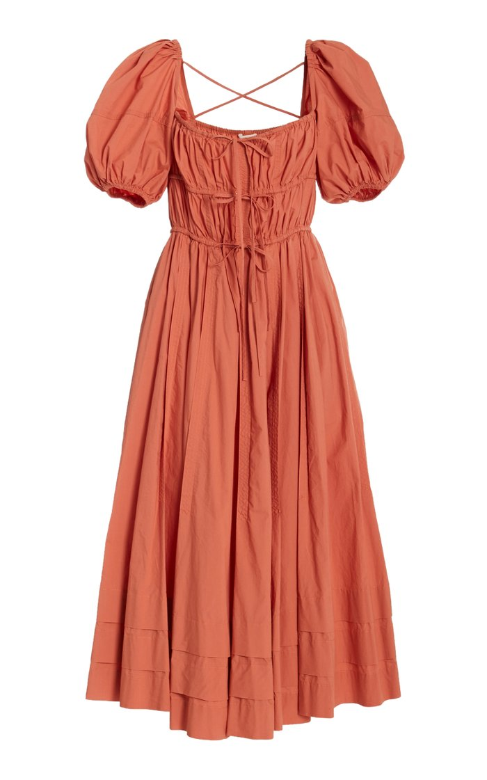 Palma Tie-Detail Cotton Midi Dress
