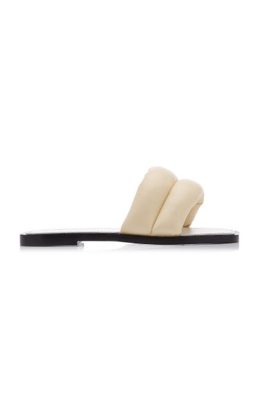 Puffy Leather Slide Sandals