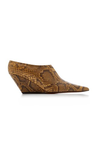 Slant Snake-Effect Leather Mules