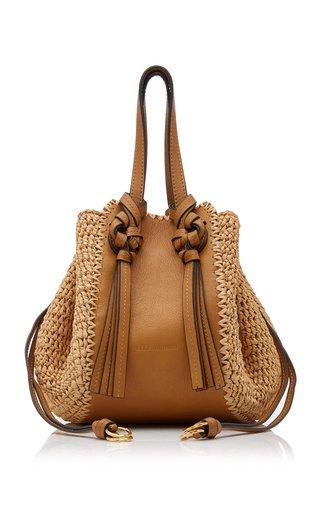 Gio Leather And Raffia Crossbody Bag