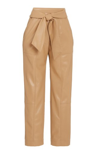Tessa Tie-Detail Vegan Leather Pants