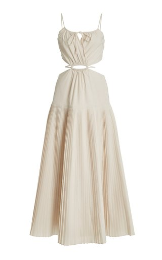 Rem Pleated Cutout Poplin Maxi Dress