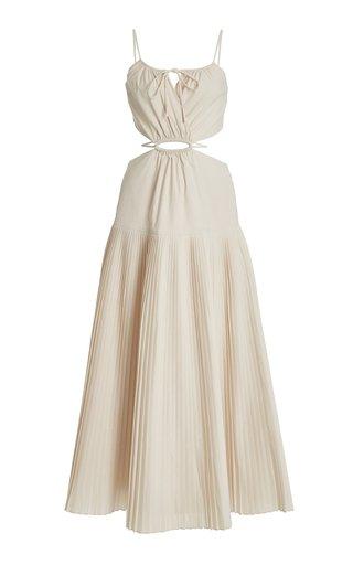 Rem Pleated Cutout Poplin Maxi Dress