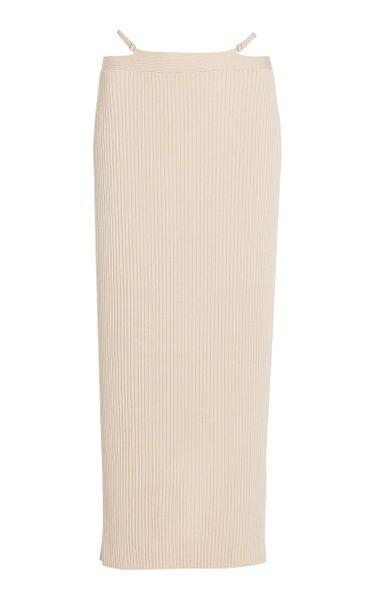 Sade Strap-Detailed Ribbed-Knit Midi Skirt