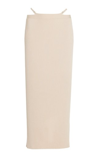 Sade Strap-Detailed Ribbed-Knit Midi Skirt