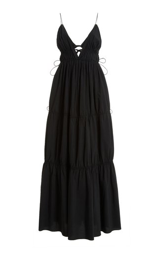 April Drawstring-Detailed Cotton Maxi Dress