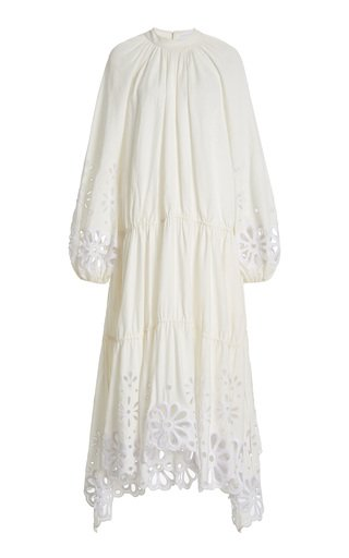 Anisa Broderie Anglaise Linen-Blend Maxi Dress