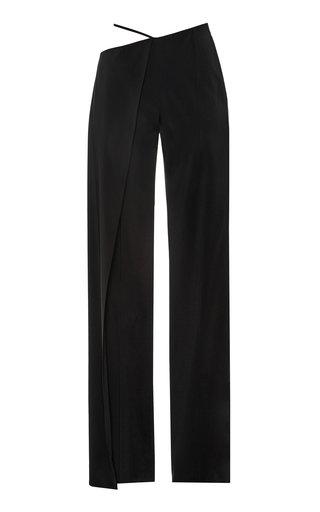 Asymmetric Crepe Wide-Leg Pants
