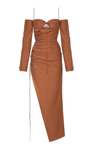 Off-The Shoulder Tie-Detail Asymmetric Dress
