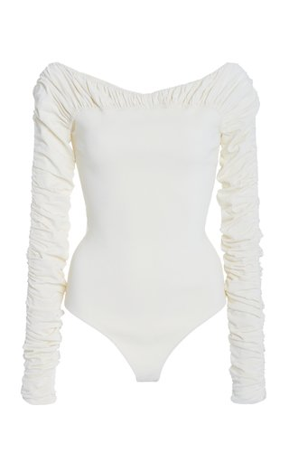 Khaite Women's Naya Jersey Off-the-shoulder Bodysuit In White