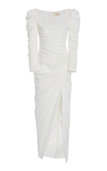 Shawna Ruched Satin Midi Dress