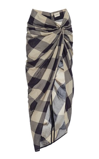 Louie Ruched Plaid Skirt