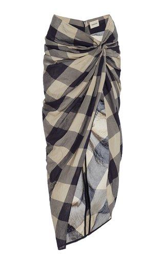 Louie Ruched Plaid Skirt
