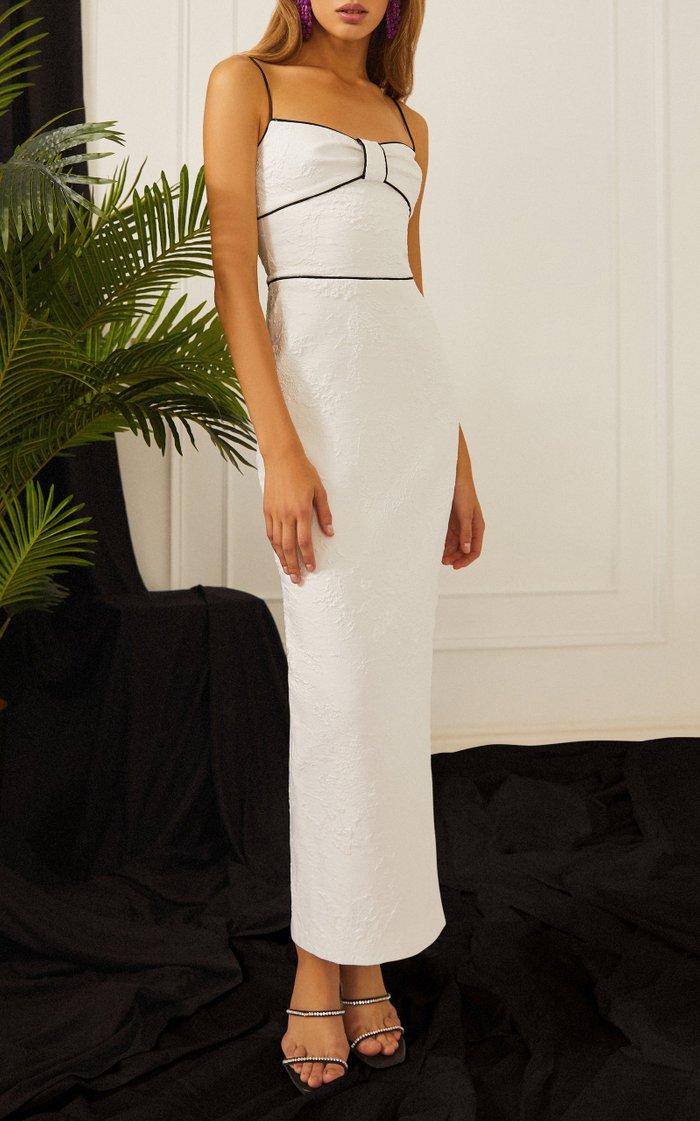 Jacquard Maxi Dress With Piping