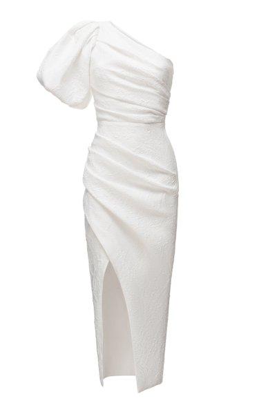 Asymmetric Draped Jacquard Midi Dress